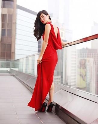 Pense à porter une robe de soirée rouge pour un look stylé et raffinée. Cette tenue est parfait avec une paire de des escarpins en cuir noirs.