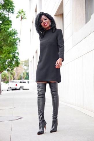 a5b6e3282f0 Comment porter une robe droite noire avec des bottes noires (20 ...