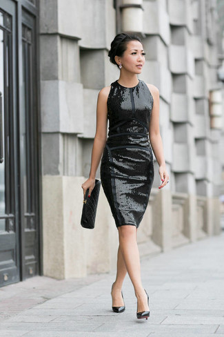 Robe fourreau pailletée noire AX Paris
