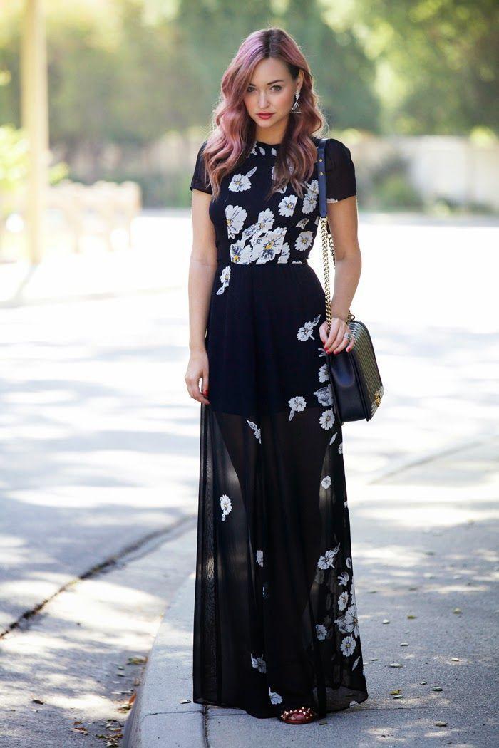 7cb25ebe2d9 Comment porter une robe longue à fleurs noire et blanche (17 tenues ...