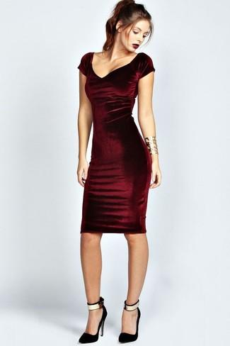d8cb853db43 Comment porter une robe moulante en velours bordeaux (4 tenues ...