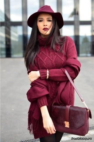 Comment porter: robe-pull en tricot bordeaux, cartable en cuir bordeaux, chapeau en laine bordeaux, écharpe bordeaux