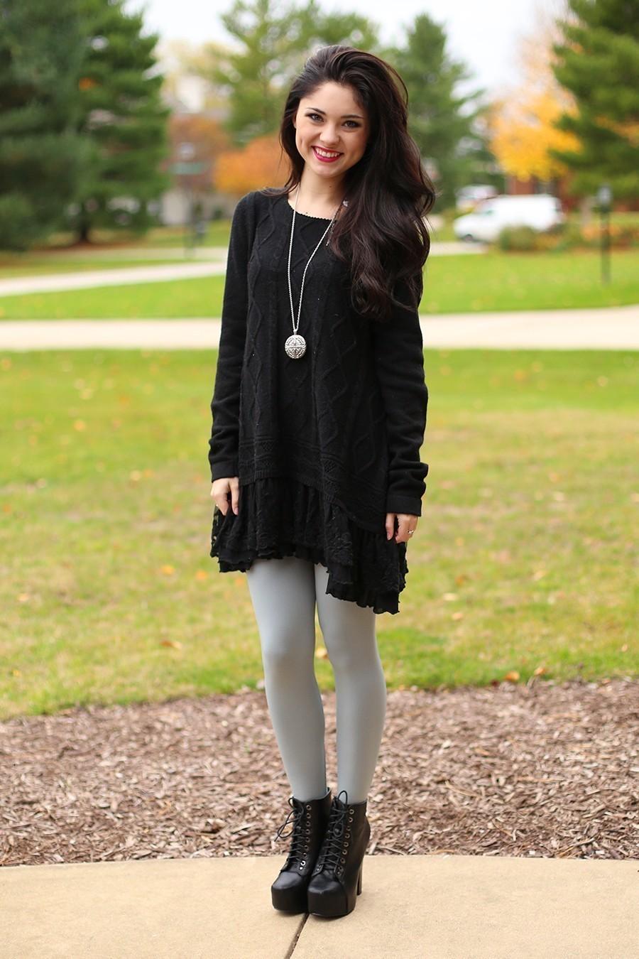 Womens Black Knit Sweater Dress Grey Leggings Black