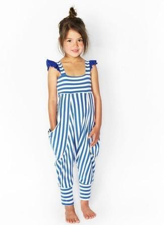 Comment porter: salopette à rayures horizontales blanc et bleu