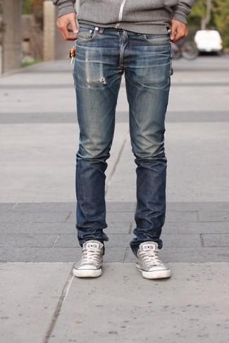 Comment porter: sweat à capuche gris, jean bleu marine, baskets basses en toile grises