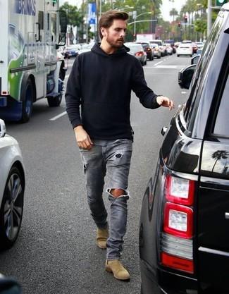 Sweat a capuche noir jean dechire gris bottines chelsea en daim brunes claires large 18366