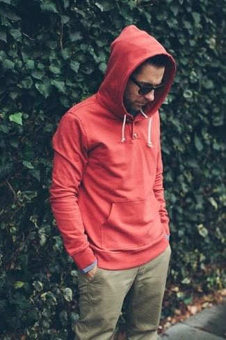 Sweat à capuche rouge ONLY & SONS