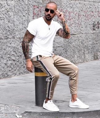 T-shirt à col rond blanc Animal