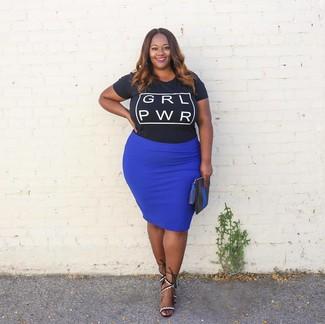 dd257afac6a4b0 Comment porter une jupe crayon bleue (97 tenues) | Mode femmes ...
