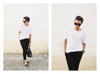 T-shirt à col rond blanc New Look