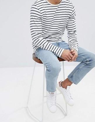 T-shirt à manche longue à rayures horizontales blanc et noir Paul Smith