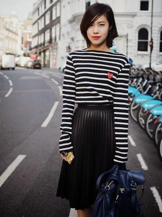 f423b4445084b Comment porter  t-shirt à manche longue à rayures horizontales noir et  blanc,