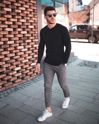 T-shirt à manche longue et col boutonné noir ASOS DESIGN