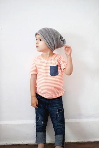 Comment porter: t-shirt orange, jean bleu marine, bonnet gris