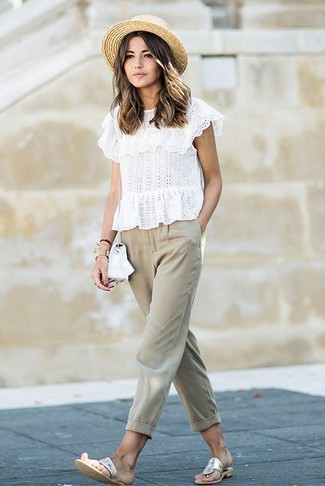 88002e4c0b98 Mode femmes › Mode femme années 20 Tenue  Top court en broderie anglaise  blanc
