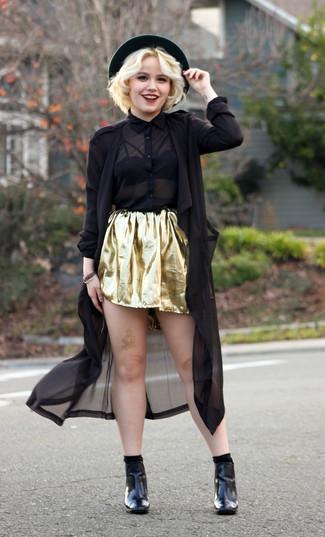 Comment porter  trench en lin noir, chemise de ville en chiffon noire, jupe b5fbb886f9e3