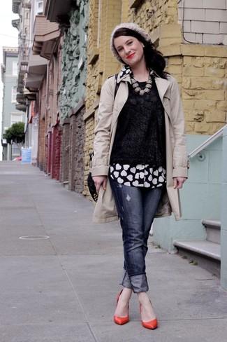 Comment porter des escarpins en cuir rouges: Pense à porter un trench beige et un jean déchiré bleu marine pour une tenue idéale le week-end. Une paire de des escarpins en cuir rouges est une option astucieux pour complèter cette tenue.