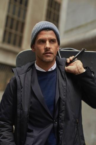Comment porter une veste à col et boutons noire: Choisis une veste à col et boutons noire et un blazer noir si tu recherches un look stylé et soigné.