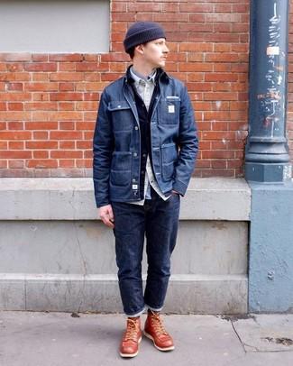 Comment porter: veste-chemise en denim bleu marine, veste en jean bleu marine, chemise à manches longues beige, chemise à manches longues grise
