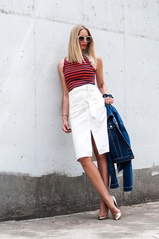 45b202baa05e Comment porter une jupe crayon blanche et noire avec des escarpins ...