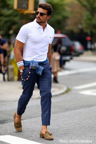 Blanc En Écossais Polo Chino Pantalon Bleue Tenue Jean Bleu Veste a6xHngqwXv