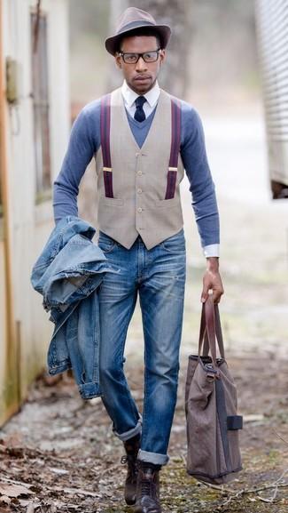 Pull à col en v bleu Gant