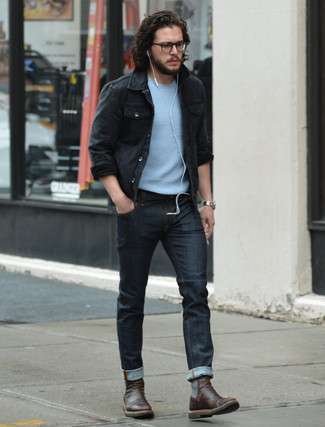 Tenue de Kit Harington: Veste en jean noire,
