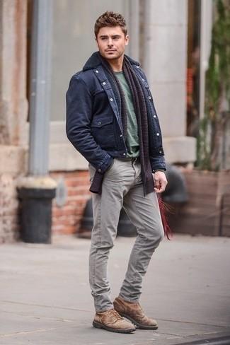 Veste militaire t shirt a col rond jean bottes echarpe large 1308
