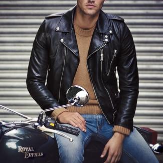 Veste motard en cuir noire Jacamo