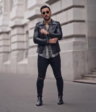 Veste motard en cuir noire John Varvatos