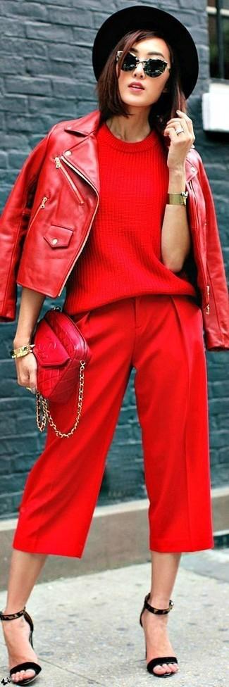 Sac bandoulière en cuir matelassé rouge Saint Laurent