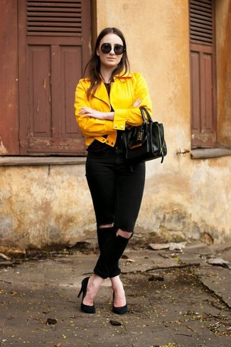 d523681d732 Tenue  Veste motard jaune