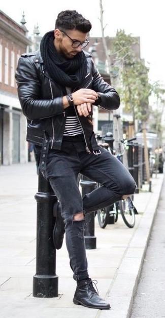 Veste motard en cuir noire Selected Homme