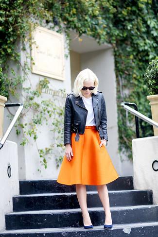 Jupe trapèze orange Victoria Beckham