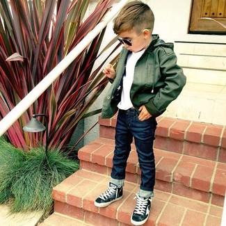 Comment porter: veste olive, t-shirt blanc, jean bleu marine, baskets noires