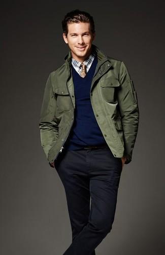 Pull à col en v bleu marine Hackett Clothing