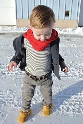 Comment porter: veste gris foncé, t-shirt gris, jean gris, bottes jaunes