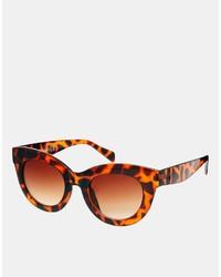 Lunettes de soleil imprimées léopard marron Cat Eye