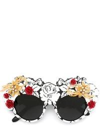 Lunettes de soleil ornées noires Dolce & Gabbana