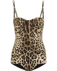 Maillot de bain une pièce imprimé léopard marron clair Dolce & Gabbana