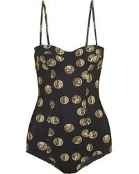 Maillot de bain une pièce imprimé noir Dolce & Gabbana