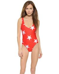 Maillot de bain une pièce imprimé rouge Wildfox Couture