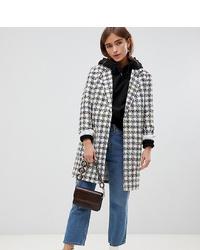 Manteau à carreaux blanc et noir ASOS DESIGN