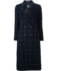 Manteau à carreaux bleu marine