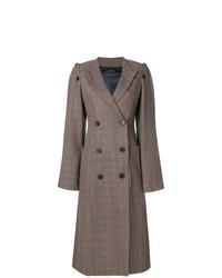 Manteau à carreaux brun