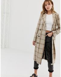 Manteau à carreaux marron Monki