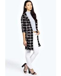 Manteau à carreaux noir et blanc