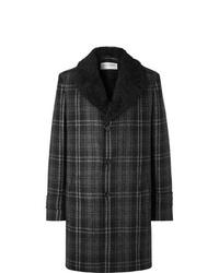 Manteau à col fourrure à carreaux gris foncé Saint Laurent