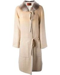 Manteau à col fourrure beige