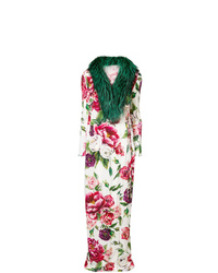 Manteau à col fourrure blanc et rouge Dolce & Gabbana